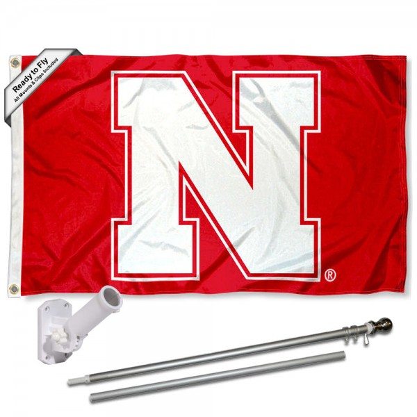 Our Nebraska Cornhuskers Block N Flag Pole and Bracket Kit includes the flag as shown and the recommended flagpole and flag bracket. The flag is made of polyester, has quad-stitched flyends, and the NCAA Licensed team logos are double sided screen printed. The flagpole and bracket are made of rust proof aluminum and includes all hardware so this kit is ready to install and fly.