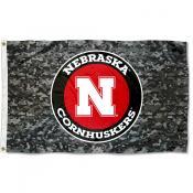 Nebraska Cornhuskers Camo Flag