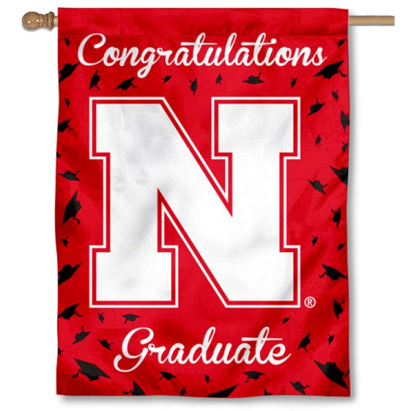Nebraska Cornhuskers Congratulations Graduate Flag measures 30x40 inches, is made of poly, has a top hanging sleeve, and offers dye sublimated Nebraska Cornhuskers logos. This Decorative Nebraska Cornhuskers Congratulations Graduate House Flag is officially licensed by the NCAA.