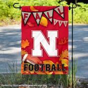 Nebraska Cornhuskers Fall Football Autumn Leaves Decorative Garden Flag