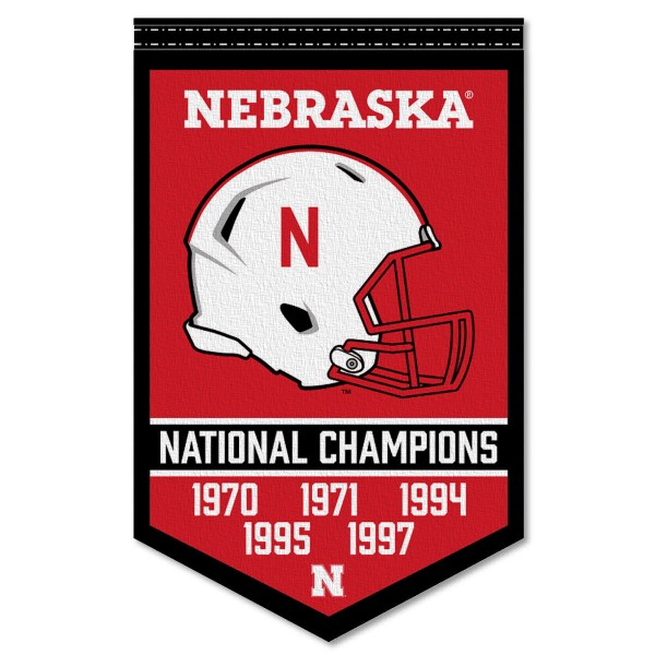 Nebraska Cornhuskers Football National Champions Banner consists of our sports dynasty year banner which measures 15x24 inches, is constructed of rigid felt, is single sided imprinted, and offers a pennant sleeve for insertion of a pennant stick, if desired. This sports banner is a unique collectible and keepsake of the legacy game and is Officially Licensed and University, School, and College Approved.