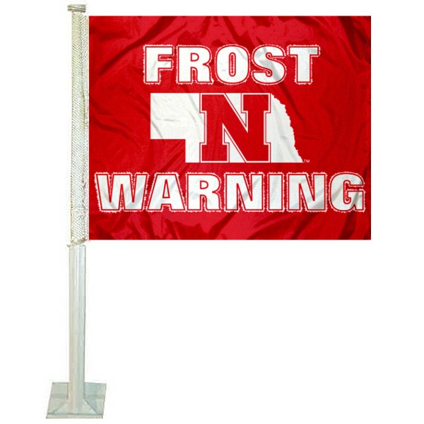 Nebraska Cornhuskers Frost Warning Car Flag measures 12x15 inches, is constructed of sturdy 2 ply polyester, and has screen printed school logos which are readable and viewable correctly on both sides. Nebraska Cornhuskers Frost Warning Car Flag is officially licensed by the NCAA and selected university.