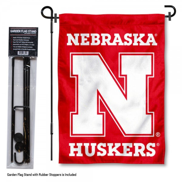 "Nebraska Cornhuskers Garden Flag and Stand kit includes our 13""x18"" garden banner which is made of 2 ply poly with liner and has screen printed licensed logos. Also, a 40""x17"" inch garden flag stand is included so your Nebraska Cornhuskers Garden Flag and Stand is ready to be displayed with no tools needed for setup. Fast Overnight Shipping is offered and the flag is Officially Licensed and Approved by the selected team."