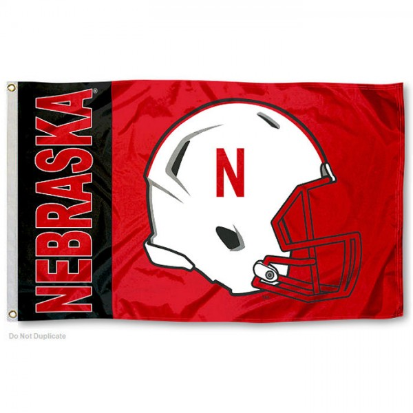 Nebraska Cornhuskers Helmet Flag measures 3'x5', is made of 100% poly, has quadruple stitched sewing, two metal grommets, and has double sided Nebraska Cornhuskers logos. Our Nebraska Cornhuskers Helmet Flag is officially licensed by the selected university and the NCAA.