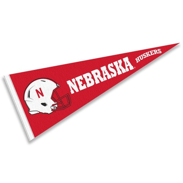 Nebraska Cornhuskers Helmet Pennant consists of our full size sports pennant which measures 12x30 inches, is constructed of felt, is single sided imprinted, and offers a pennant sleeve for insertion of a pennant stick, if desired. This Nebraska Cornhuskers Pennant Decorations is Officially Licensed by the selected university and the NCAA.