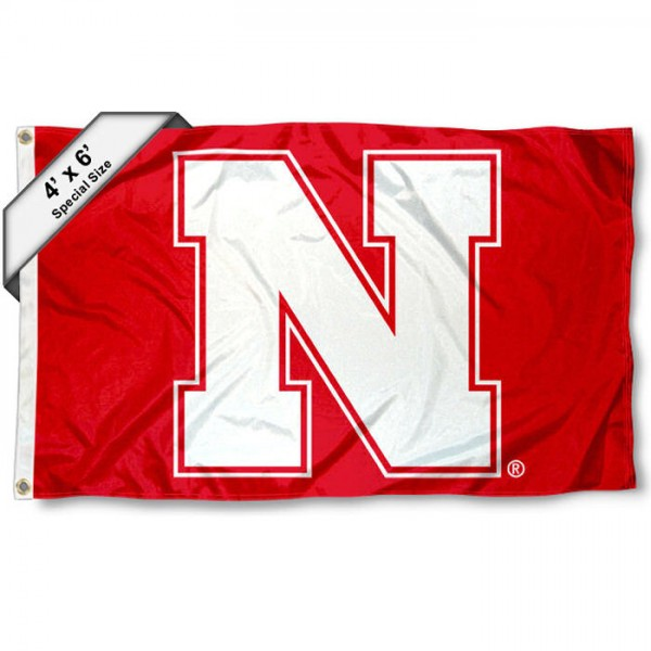 Nebraska Cornhuskers Large 4x6 Flag measures 4x6 feet, is made thick woven polyester, has quadruple stitched flyends, two metal grommets, and offers screen printed NCAA Nebraska Cornhuskers Large athletic logos and insignias. Our Nebraska Cornhuskers Large 4x6 Flag is officially licensed by Nebraska Cornhuskers and the NCAA.