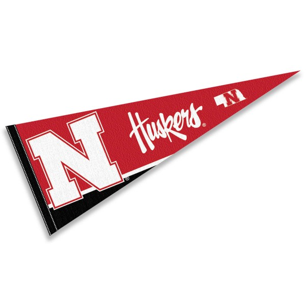 Nebraska Cornhuskers New Logo Pennant consists of our full size sports pennant which measures 12x30 inches, is constructed of felt, is single sided imprinted, and offers a pennant sleeve for insertion of a pennant stick, if desired. This Nebraska Cornhuskers Pennant Decorations is Officially Licensed by the selected university and the NCAA.