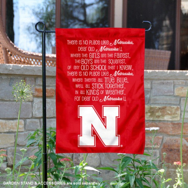 Nebraska Cornhuskers No Place Like Nebraska Song Garden Flag is 13x18 inches in size, is made of 2-layer polyester, screen printed university athletic logos and lettering, and is readable and viewable correctly on both sides. Available same day shipping, our Nebraska Cornhuskers No Place Like Nebraska Song Garden Flag is officially licensed and approved by the university and the NCAA.