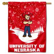 Nebraska Cornhuskers Snowflake House Flag