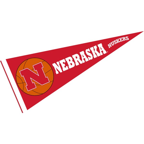 Nebraska Huskers Basketball Pennant consists of our full size sports pennant which measures 12x30 inches, is constructed of felt, is single sided imprinted, and offers a pennant sleeve for insertion of a pennant stick, if desired. This Nebraska Huskers Pennant Decorations is Officially Licensed by the selected university and the NCAA.