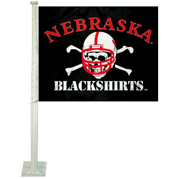 Nebraska Huskers Blackshirts Car Window Flag measures 12x15 inches, is constructed of sturdy 2 ply polyester, and has screen printed school logos which are readable and viewable correctly on both sides. Nebraska Huskers Blackshirts Car Window Flag is officially licensed by the NCAA and selected university.