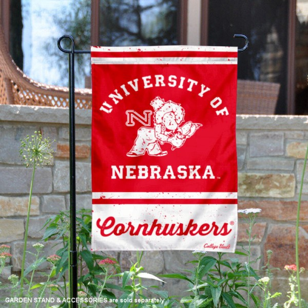 Nebraska Huskers College Vault Logo Garden Flag is 12.5x18 inches in size, is made of 2-layer polyester, screen printed university athletic logos and lettering, and is readable and viewable correctly on both sides. Available same day shipping, our Nebraska Huskers College Vault Logo Garden Flag is officially licensed and approved by the university and the NCAA.