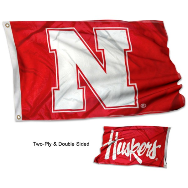 Nebraska Huskers Double Logo 3x5 Flag measures 3x5, is made thick 100% polyester, has two stitched flyends for durability, and is readable correctly on both sides. Our Nebraska Huskers Double Logo 3x5 Flag is officially licensed by the university, school, and the NCAA.