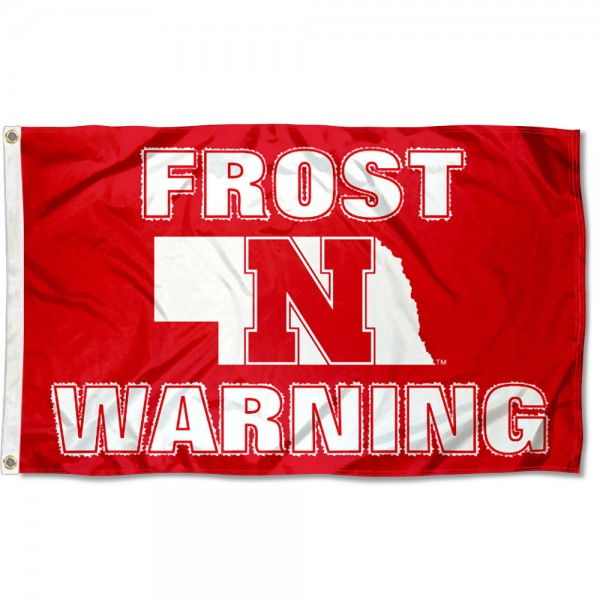 Nebraska Huskers Frost Warning Flag measures 3x5 feet, is made of 100% polyester, offers quadruple stitched flyends, has two metal grommets, and offers screen printed NCAA team logos and insignias. Our Nebraska Huskers Frost Warning Flag is officially licensed by the selected university and NCAA.