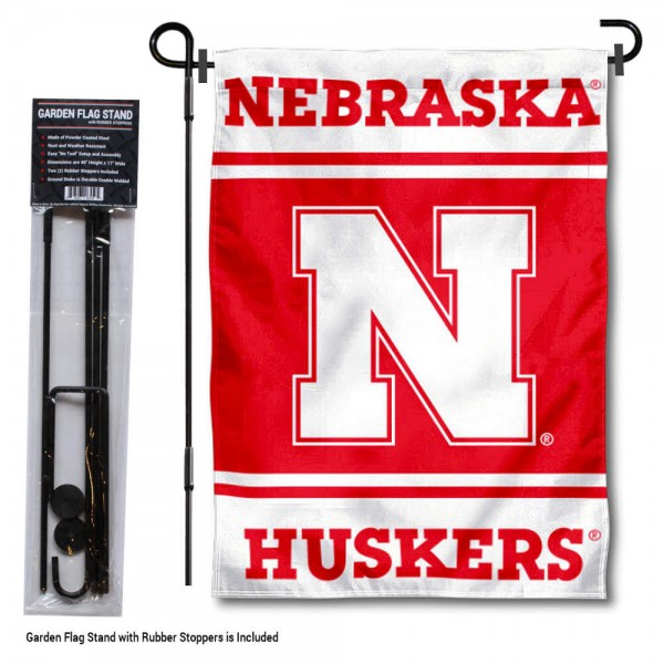 Nebraska Huskers Garden Flag and Pole Stand Holder