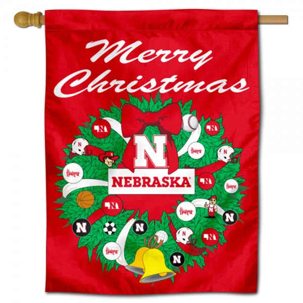 Nebraska Huskers Happy Holidays Banner Flag measures 30x40 inches, is made of poly, has a top hanging sleeve, and offers dye sublimated Nebraska Huskers logos. This Decorative Nebraska Huskers Happy Holidays Banner Flag is officially licensed by the NCAA.