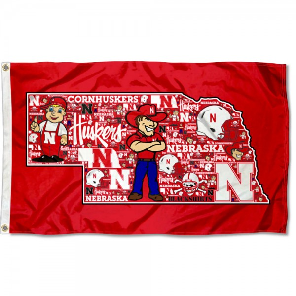 Nebraska Huskers Mosaic Logo Flag measures 3x5 feet, is made of 100% polyester, offers quadruple stitched flyends, has two metal grommets, and offers screen printed NCAA team logos and insignias. Our Nebraska Huskers Mosaic Logo Flag is officially licensed by the selected university and NCAA.