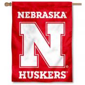 Nebraska Huskers New Logo Red House Flag