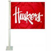 Nebraska Huskers Script Huskers Car Flag
