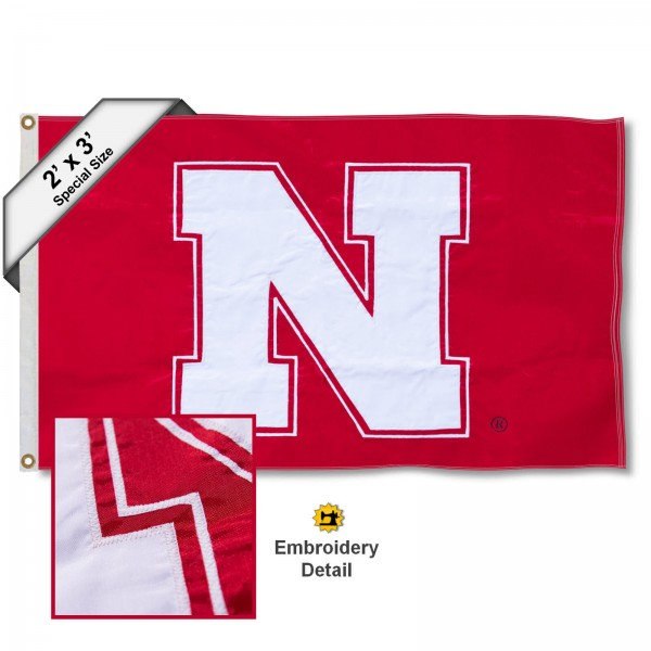 Nebraska Huskers Small 2'x3' Flag measures 2x3 feet, is made of 100% nylon, offers quadruple stitched flyends, has two brass grommets, and offers embroidered Nebraska Huskers logos, letters, and insignias. Our 2x3 foot flag is Officially Licensed by the selected university.