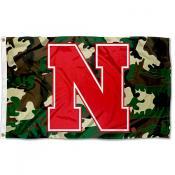 Nebraska Huskiers Camouflage Flag