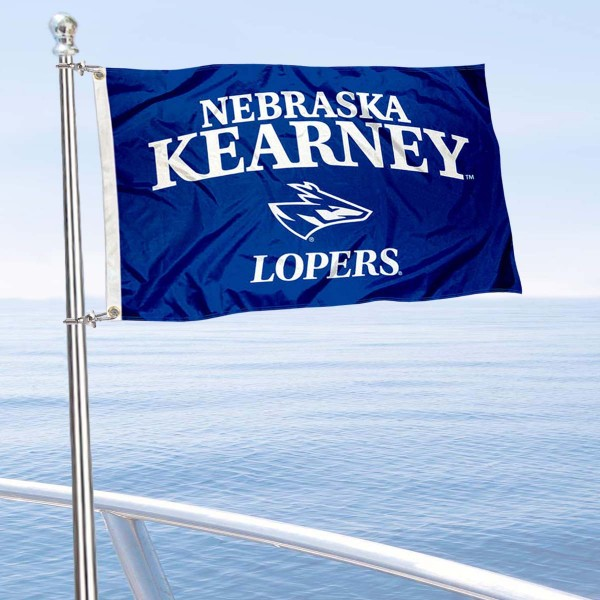 Nebraska Kearney Lopers Boat and Mini Flag is 12x18 inches, polyester, offers quadruple stitched flyends for durability, has two metal grommets, and is double sided. Our mini flags for University of Nebraska Kearney are licensed by the university and NCAA and can be used as a boat flag, motorcycle flag, golf cart flag, or ATV flag.