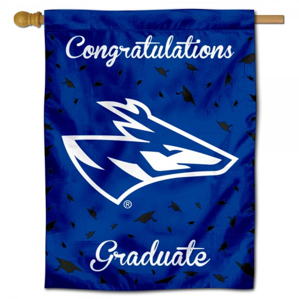 Nebraska Kearney Lopers Congratulations Graduate Flag measures 30x40 inches, is made of poly, has a top hanging sleeve, and offers dye sublimated Nebraska Kearney Lopers logos. This Decorative Nebraska Kearney Lopers Congratulations Graduate House Flag is officially licensed by the NCAA.