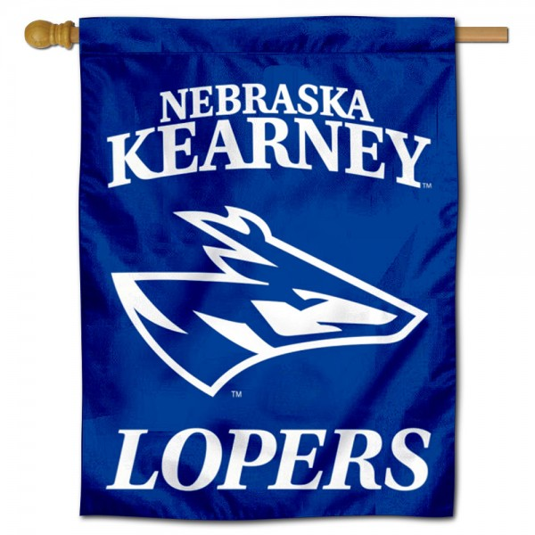 Nebraska Kearney Lopers Double Sided House Flag is a vertical house flag which measures 30x40 inches, is made of 2 ply 100% polyester, offers screen printed NCAA team insignias, and has a top pole sleeve to hang vertically. Our Nebraska Kearney Lopers Double Sided House Flag is officially licensed by the selected university and the NCAA.