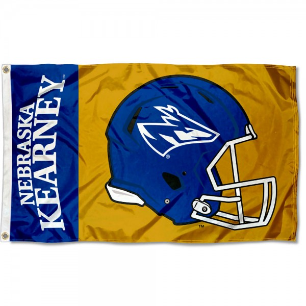 Nebraska Kearney Lopers Football Helmet Flag measures 3x5 feet, is made of 100% polyester, offers quadruple stitched flyends, has two metal grommets, and offers screen printed NCAA team logos and insignias. Our Nebraska Kearney Lopers Football Helmet Flag is officially licensed by the selected university and NCAA.