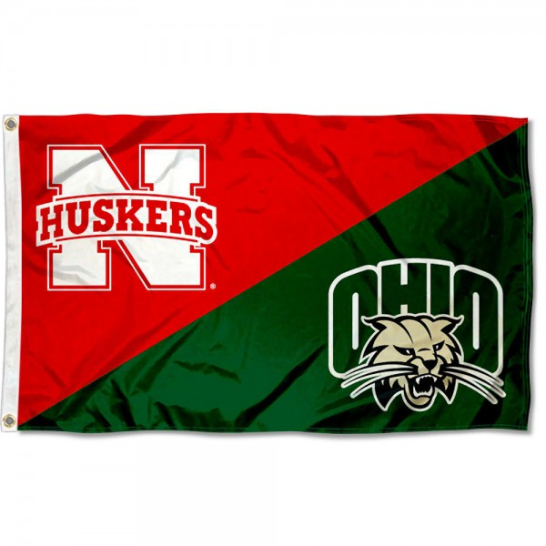 Nebraska vs. Ohio House Divided 3x5 Flag sizes at 3x5 feet, is made of 100% polyester, has quadruple-stitched fly ends, and the university logos are screen printed into the Nebraska vs. Ohio House Divided 3x5 Flag. The Nebraska vs. Ohio House Divided 3x5 Flag is approved by the NCAA and the selected universities.