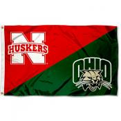Nebraska vs. Ohio House Divided 3x5 Flag