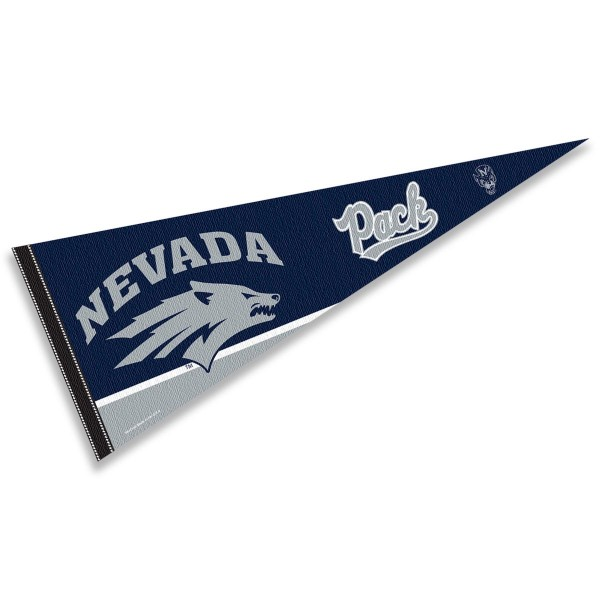 Nevada Wolf Pack Decorations consists of our full size pennant which measures 12x30 inches, is constructed of felt, is single sided imprinted, and offers a pennant sleeve for insertion of a pennant stick, if desired. This Nevada Wolf Pack Decorations is officially licensed by the selected university and the NCAA