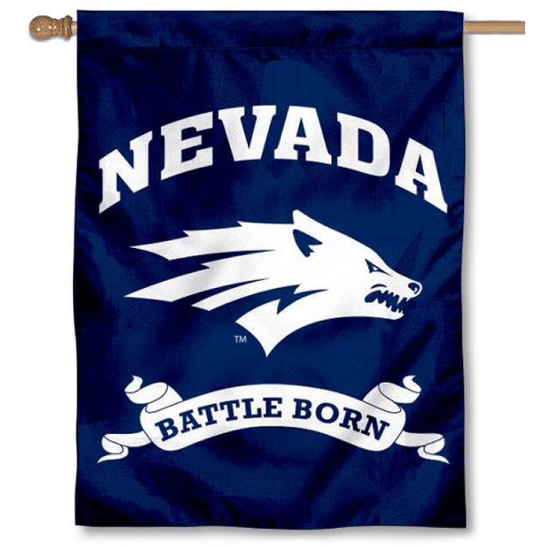 Nevada Wolfpack Battle Born Banner Flag is a vertical house flag which measures 30x40 inches, is made of 2 ply 100% polyester, offers dye sublimated NCAA team insignias, and has a top pole sleeve to hang vertically. Our Nevada Wolfpack Battle Born Banner Flag is officially licensed by the selected university and the NCAA.