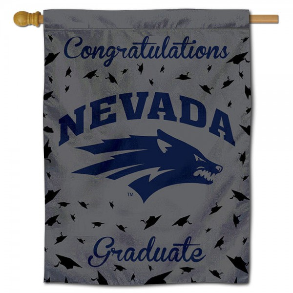 Nevada Wolfpack Congratulations Graduate Flag measures 30x40 inches, is made of poly, has a top hanging sleeve, and offers dye sublimated Nevada Wolfpack logos. This Decorative Nevada Wolfpack Congratulations Graduate House Flag is officially licensed by the NCAA.
