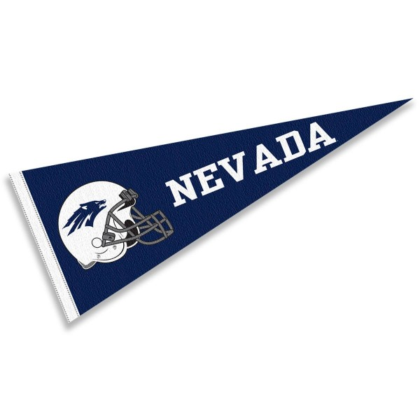 Nevada Wolfpack Helmet Pennant consists of our full size sports pennant which measures 12x30 inches, is constructed of felt, is single sided imprinted, and offers a pennant sleeve for insertion of a pennant stick, if desired. This Nevada Wolfpack Pennant Decorations is Officially Licensed by the selected university and the NCAA.