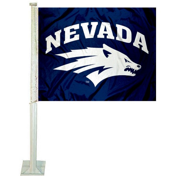Nevada Wolfpack Logo Car Flag measures 12x15 inches, is constructed of sturdy 2 ply polyester, and has screen printed school logos which are readable and viewable correctly on both sides. Nevada Wolfpack Logo Car Flag is officially licensed by the NCAA and selected university.