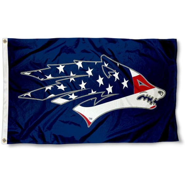 Nevada Wolfpack Patriotic Flag measures 3'x5', is made of 100% poly, has quadruple stitched sewing, two metal grommets, and has double sided Team University logos. Our Nevada Wolfpack USA Flag Waving is officially licensed by the selected university and the NCAA.