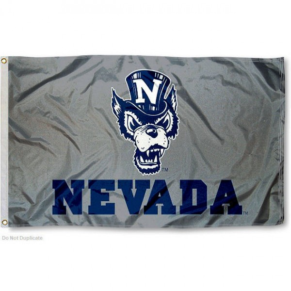 Nevada Wolfpack Silver Wolf Flag measures 3x5 feet, is made of 100% polyester, offers quadruple stitched flyends, has two metal grommets, and offers screen printed NCAA team logos and insignias. Our Nevada Wolfpack Silver Wolf Flag is officially licensed by the selected university and NCAA.