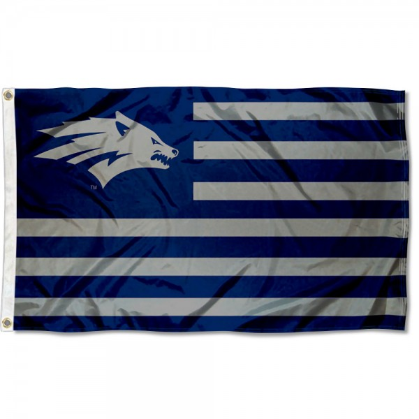 Nevada Wolfpack Stripes Flag measures 3'x5', is made of polyester, offers double stitched flyends for durability, has two metal grommets, and is viewable from both sides with a reverse image on the opposite side. Our Nevada Wolfpack Stripes Flag is officially licensed by the selected school university and the NCAA.