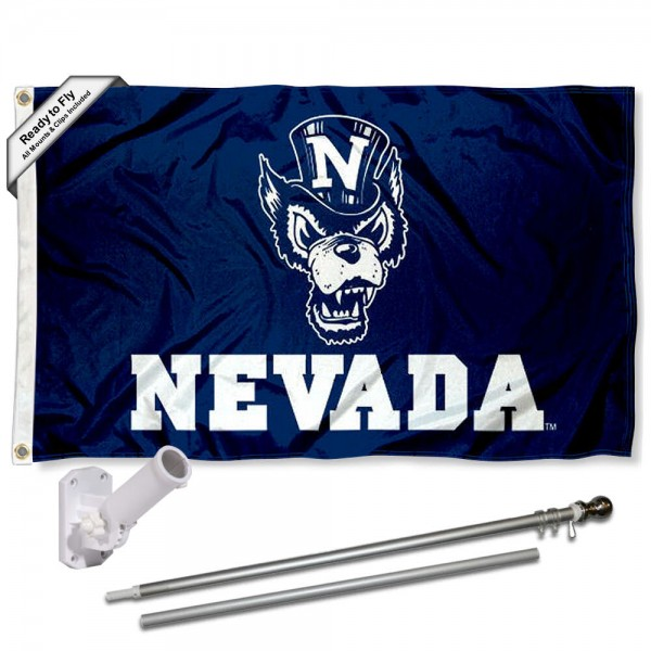 Our Nevada Wolfpack Wolf Flag Pole and Bracket Kit includes the flag as shown and the recommended flagpole and flag bracket. The flag is made of polyester, has quad-stitched flyends, and the NCAA Licensed team logos are double sided screen printed. The flagpole and bracket are made of rust proof aluminum and includes all hardware so this kit is ready to install and fly.