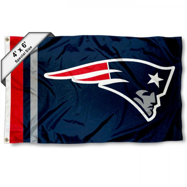New England Patriots 4x6 Flag measures a large 4x6 feet, is made polyester, has quadruple stitched flyends, two metal grommets, and offers screen printed NFL New England Patriots logos and insignias. Our New England Patriots 4x6 Foot Flag is NFL Officially Licensed and New England Patriots approved.