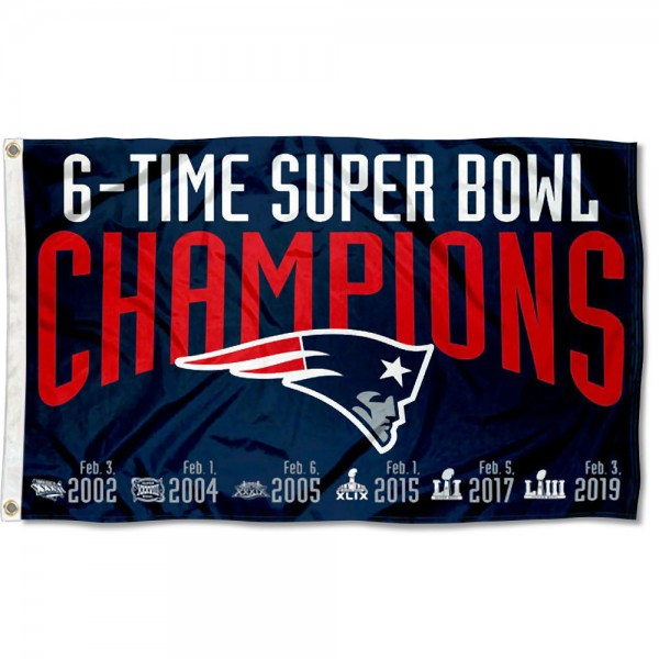 New England Patriots 6 Time Super Bowl Champions Flag measures 3'x5', is made of 100% poly, has quadruple stitched sewing, two metal grommets, and has double sided Team and player logos. Our New England Patriots 6 Time Super Bowl Champions Flag is officially licensed by the selected player and the NFL.