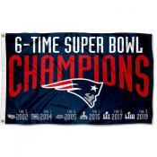 New England Patriots 6 Time Super Bowl Champions Flag