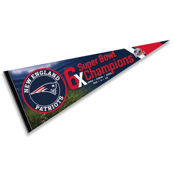 This New England Patriots 6 Time Super Bowl Champions Pennant Flag is 12x30 inches, is made of premium felt blends, has a pennant stick sleeve, and the team logos are single sided screen printed. Our New England Patriots 6 Time Super Bowl Champions Pennant Flag is NFL Officially Licensed.