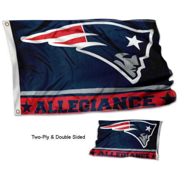 New England Patriots Allegiance Flag measures 3'x5', is made of 2-ply double sided polyester with liner, has quadruple stitched sewing, two metal grommets, and has two sided team logos. Our New England Patriots Allegiance Flag is officially licensed by the selected team and the NFL and is available with overnight express shipping.