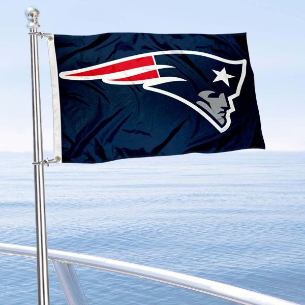 "Our New England Patriots Boat and Nautical Flag is 12""x18"", made of three-ply poly, has a solid header with two metal grommets, and is double sided. This Boat and Nautical Flag for New England Patriots is Officially Licensed by the NFL and can also be used as a motorcycle flag, boat flag, golf cart flag, or recreational flag."