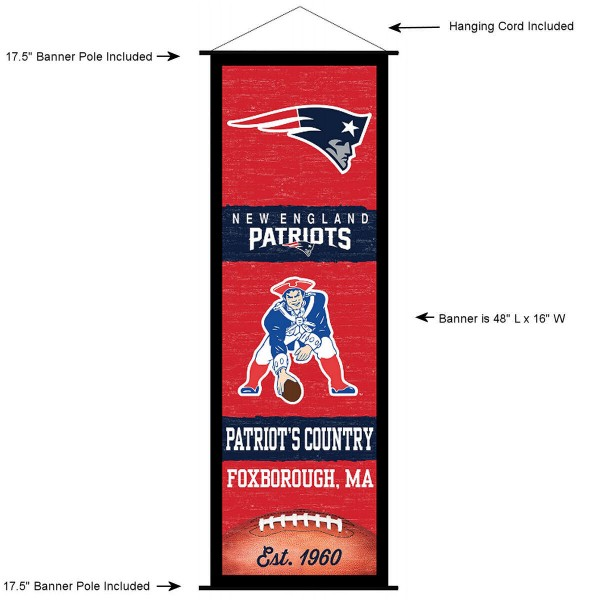 "This ""ready to hang"" New England Patriots Decor and Banner is made of polyester material, measures a large 17.5"" x 48"", offers screen printed athletic logos, and includes both top and bottom 3/4"" diameter plastic banner poles and hanging cord. Our New England Patriots D�cor and Banner is Officially Licensed by the selected team and NFL."