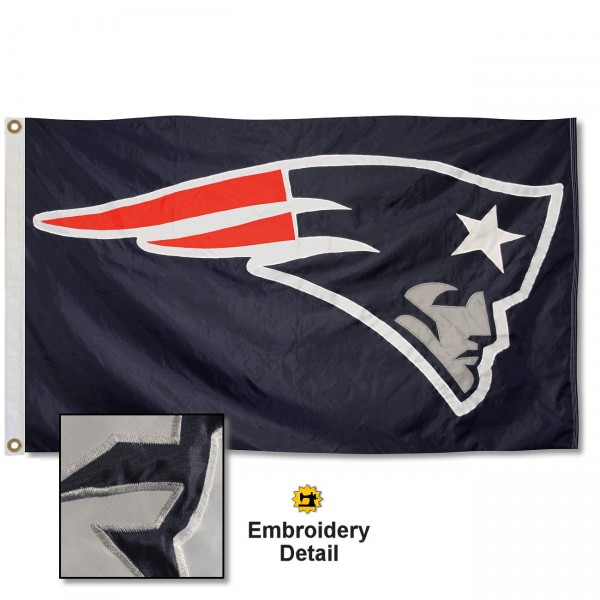 This New England Patriots Embroidered Nylon Flag is double sided, made of nylon, 3'x5', has two metal grommets, indoor or outdoor, and four-stitched fly ends. These New England Patriots Embroidered Nylon Flags are Officially Approved the New England Patriots and NFL.