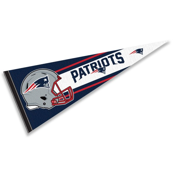 This New England Patriots Football Pennant measures 12x30 inches, is constructed of felt, and is single sided screen printed with the New England Patriots logo and helmets. This New England Patriots Football Pennant is a NFL Officially Licensed product.