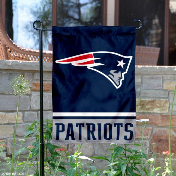 New England Patriots Garden Flag is 12.5x18 inches in size, is made of 2-ply polyester, and has two sided screen printed logos and lettering. Available with Express Next Day Ship, our New England Patriots Garden Flag is NFL Officially Licensed and is double sided.